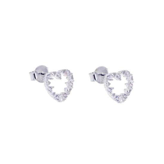 Sterling Silver & CZ Open Heart Earrings
