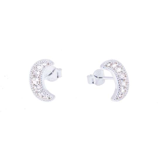 Sterling Silver & CZ Crystal Crescent Moon Stud Earrings