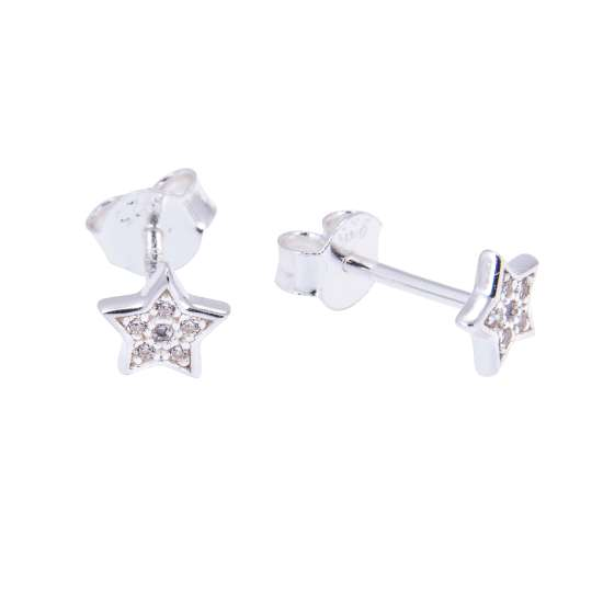 Sterling Silver & CZ Crystal Encrusted Star Stud Earrings