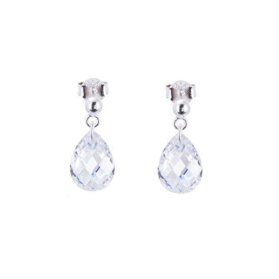 Sterling Silver & Faceted Pear Drop CZ Crystal Stud Earrings