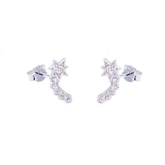Sterling Silver & CZ Crystal Shooting Star Stud Earrings