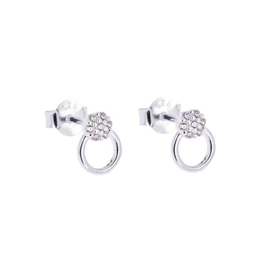 Sterling Silver & CZ Crystal Open Ring Cluster Stud Earrings