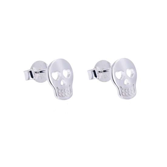 Sterling Silver Skull Heart Stud Earrings