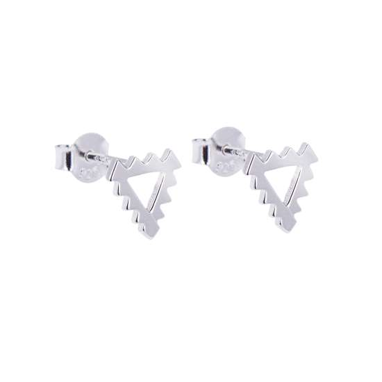 Sterling Silver Jagged Spike Triangle Stud Earrings