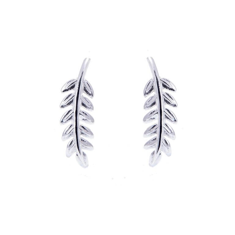 Sterling Silver Leaf Stud Earrings