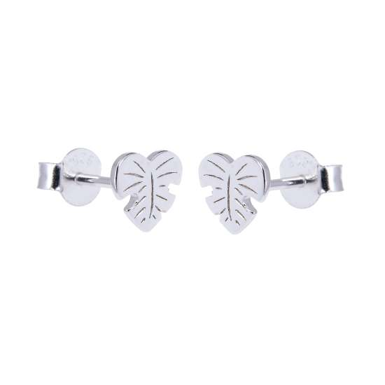 Sterling Silver Palm Heart Leaf Stud Earrings