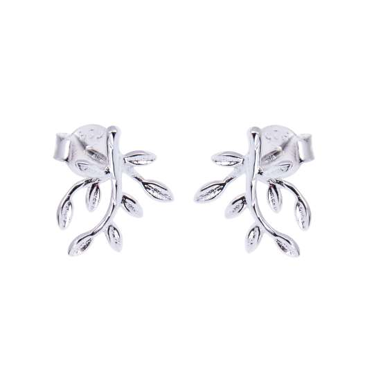 Sterling Silver Branch Leaf Stud Earrings
