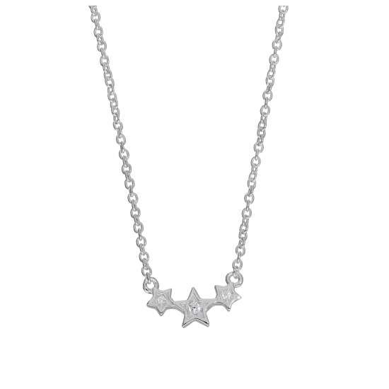Sterling Silver & CZ Crystal Triple Star 16 Inch Necklace