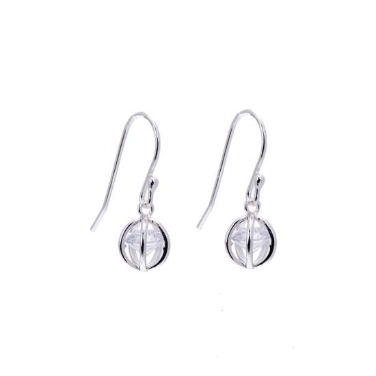 Sterling Silver & CZ Crystal Ball Dangle Fish Hook Earrings
