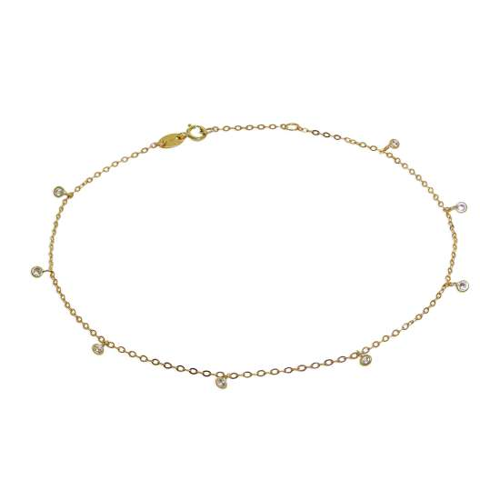 9ct Gold & Clear CZ Crystal Anklet 10 Inches