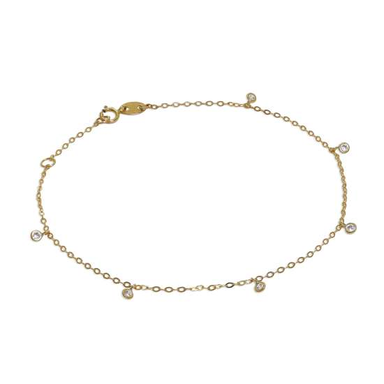 9ct Gold & Clear CZ Crystal 7.5 Inch Extender Bracelet