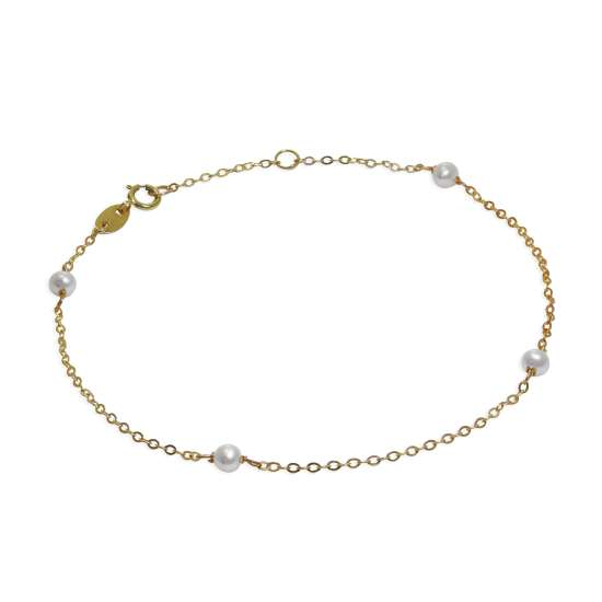 9ct Gold & 3mm Pearl 7.5 Inch Extender Bracelet