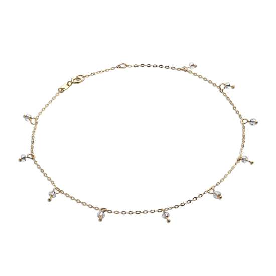 9ct Gold 10 Inch Extender Anklet with 2mm Clear CZ Beads