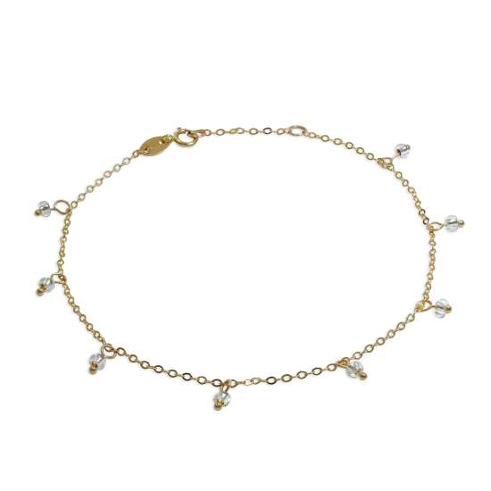 9ct Gold 7.5 Inch Extender Bracelet with Clear CZ Beads