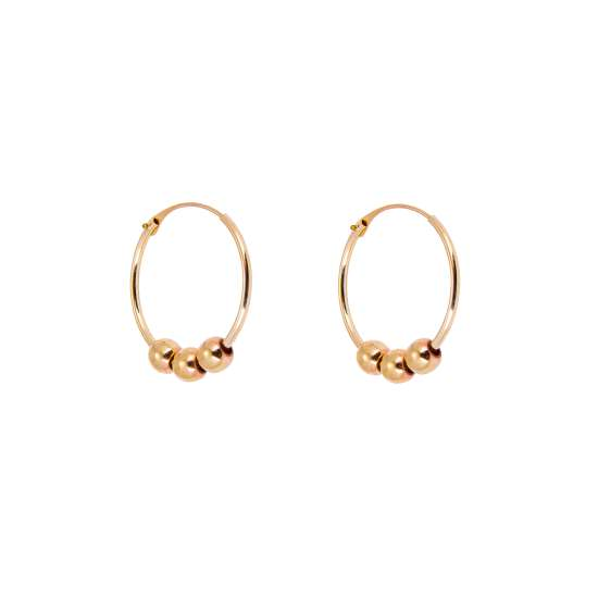 9ct Yellow Gold 14mm Hoop Earrings with Sliding Beads