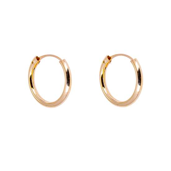 9ct Yellow Gold 12mm Hoop Sleeper Earrings