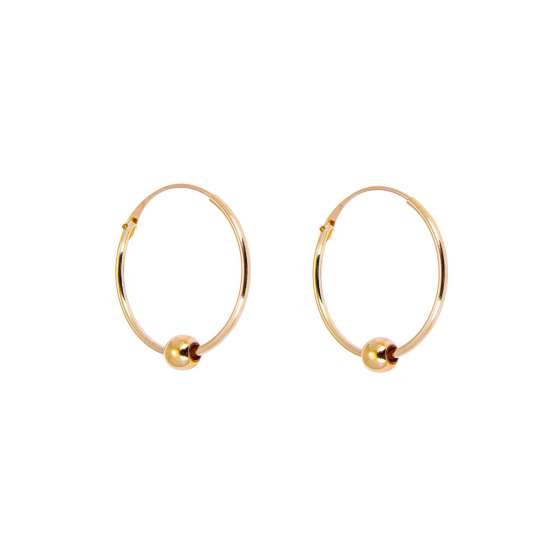 9ct Yellow Gold Hoop Earrings with 3mm Bead