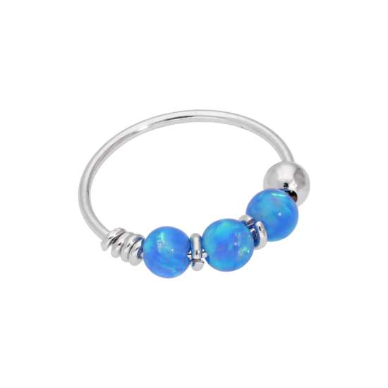 9ct White Gold & Blue Opal Beads Nose Ring