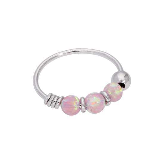 9ct White Gold & Pink Opal Beads Nose Ring