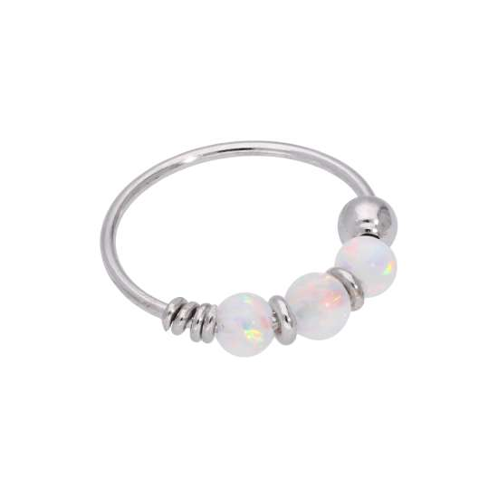 9ct White Gold & Aurora Borealis Opal Beads Nose Ring