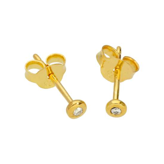 Gold Plated Sterling Silver 0.03ct Diamond Solitaire Stud Earrings