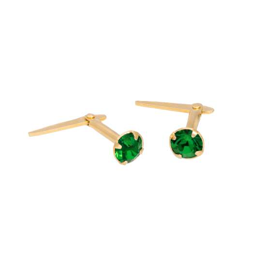 Gold Plated Sterling Silver & 3mm Emerald CZ Crystal Andralok Earrings