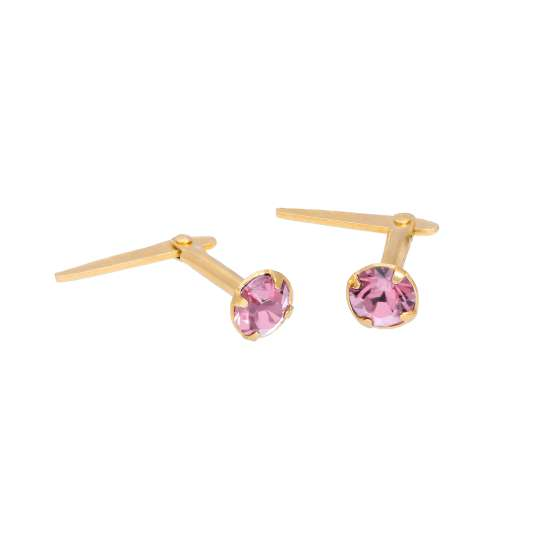 Gold Plated Sterling Silver & 3mm Light Rose CZ Crystal Andralok Earrings