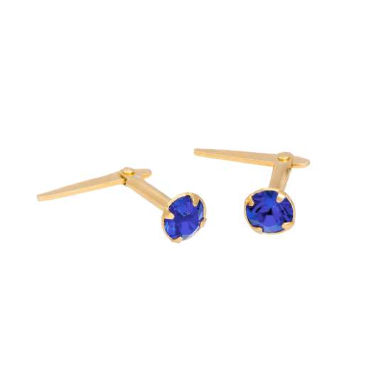 Gold Plated Sterling Silver & 3mm Sapphire CZ Crystal Andralok Earrings