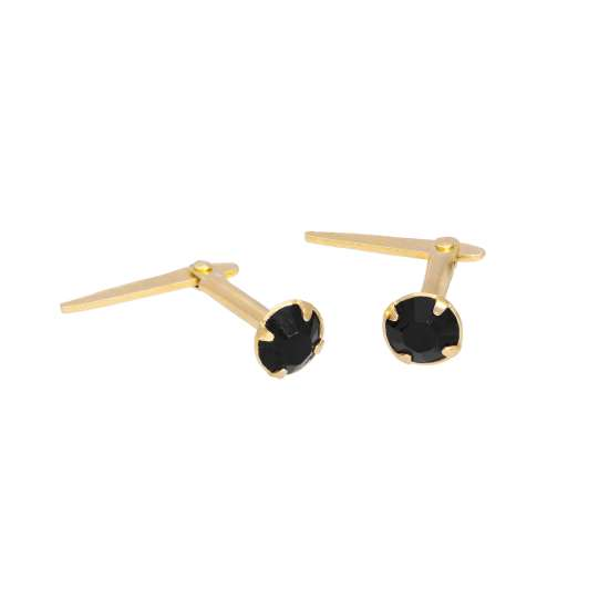 Gold Plated Sterling Silver & 3mm Black CZ Crystal Andralok Earrings