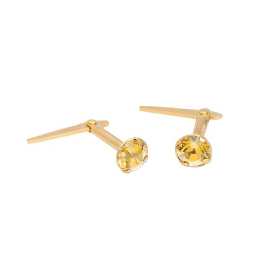 Gold Plated Sterling Silver & 3mm Citrine CZ Crystal Andralok Earrings