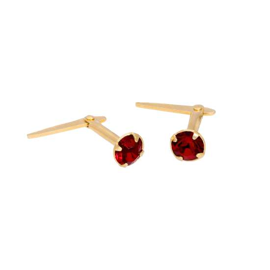 Gold Plated Sterling Silver & 3mm Garnet CZ Crystal Andralok Earrings