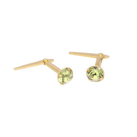 Gold Plated Sterling Silver & 3mm Peridot CZ Crystal Andralok Earrings
