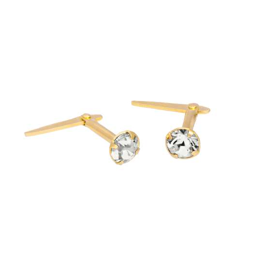 Gold Plated Sterling Silver & 3mm Clear CZ Crystal Andralok Earrings