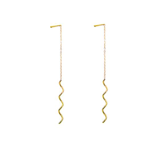 9ct Gold Wavey Pull Through Earrings