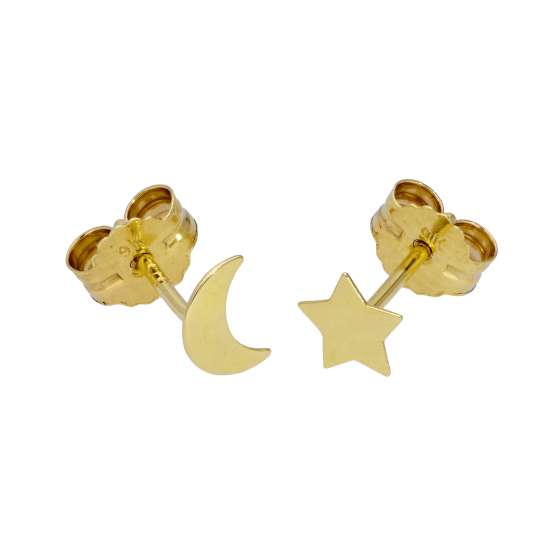 9ct Gold Small Star Moon Stud Earrings