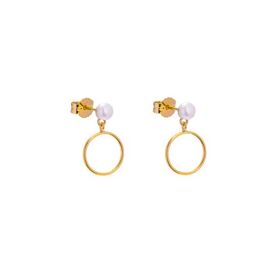 9ct Gold Small Freshwater Pearl Stud Drop Circle Earrings