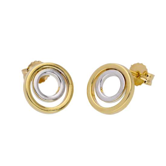 9ct Two Tone Yellow White Gold Double Circle Stud Earrings