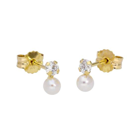 9ct Gold Clear CZ Freshwater Pearl Small Stud Earrings