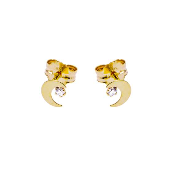 9ct Gold Moon Clear CZ Stud Earrings