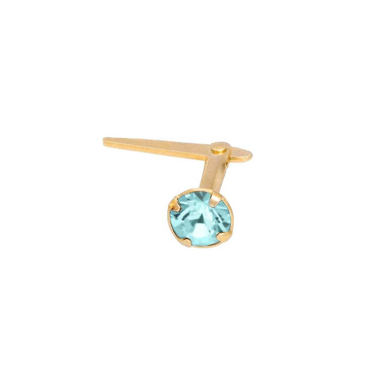 Gold Plated Sterling Silver 3mm Aqua CZ Crystal Andralok Nose Stud