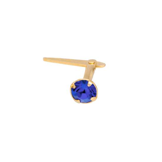 Gold Plated Sterling Silver 3mm Sapphire CZ Crystal Andralok Nose Stud