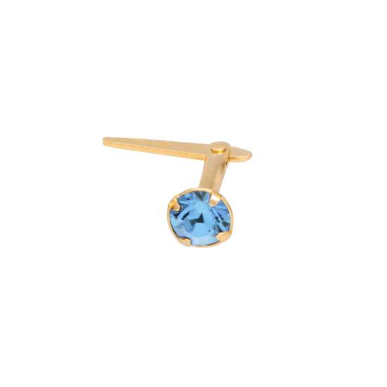 Gold Plated Sterling Silver 3mm Light Sapphire CZ Crystal Andralok Nose Stud