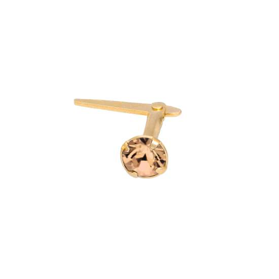 Gold Plated Sterling Silver 3mm Peach CZ Crystal Andralok Nose Stud
