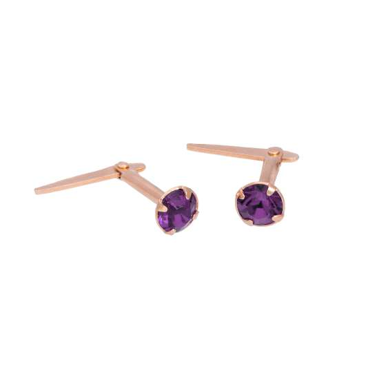 Rose Gold Plated Sterling Silver 3mm Amethyst CZ Crystal Andralok Stud Earrings