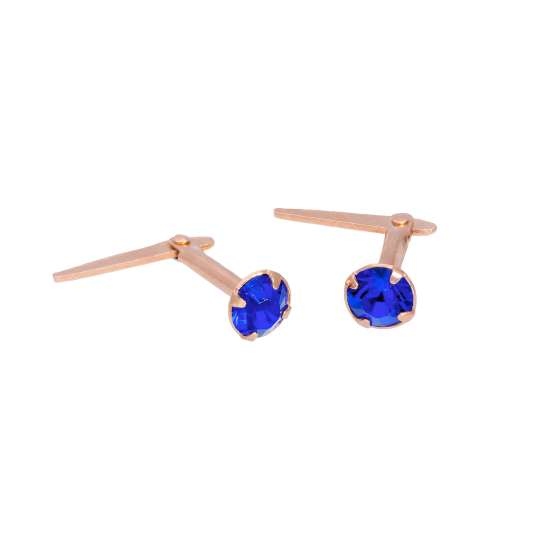 Rose Gold Plated Sterling Silver 3mm Sapphire CZ Crystal Andralok Stud Earrings