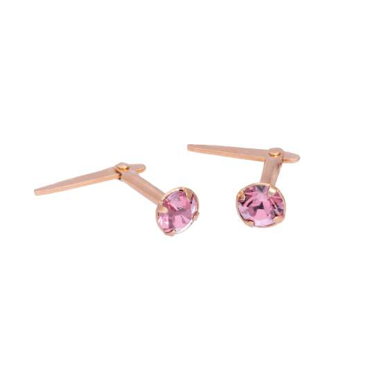Rose Gold Plated Sterling Silver 3mm Light Rose CZ Crystal Andralok Stud Earrings