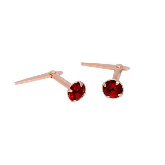 Rose Gold Plated Sterling Silver 3mm Garnet CZ Crystal Andralok Stud Earrings