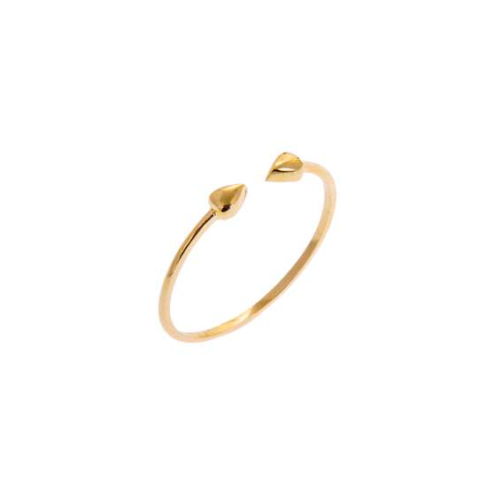 9ct Yellow Gold Double Nugget Adjustable Open Ring