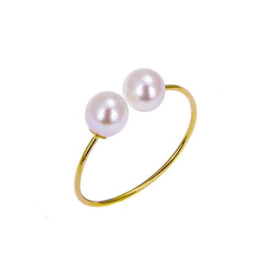 9ct Yellow Gold Double White Freshwater Pearl Adjustable Open Ring