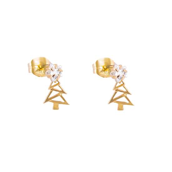 9ct Gold Christmas Tree Clear CZ Star Stud Drop Earrings